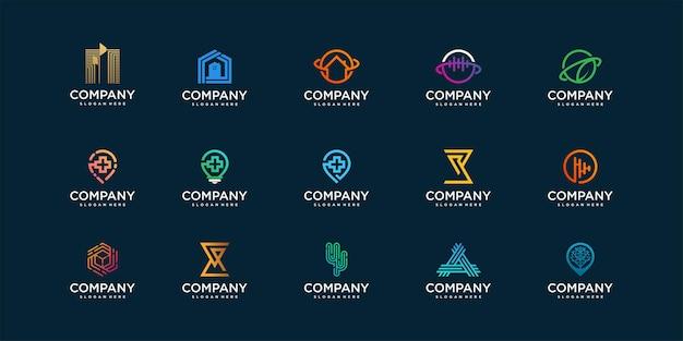 Letter abstracte logo-collectie met cool gradiëntconcept premium vector