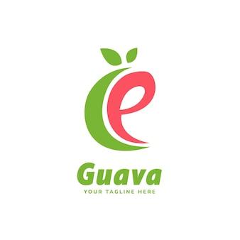 Letter alfabet e guave vruchtensap logo pictogrammalplaatje