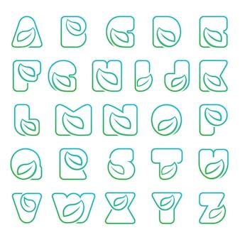 Letter alfabetten lettertype lijn logo natuur blad Premium Vector