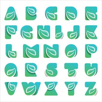Letter alfabetten lettertype logo natuur blad Premium Vector