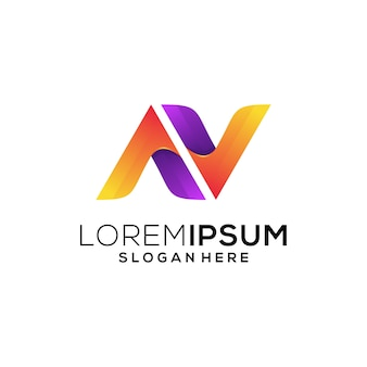 Letter av-logo kleurrijk