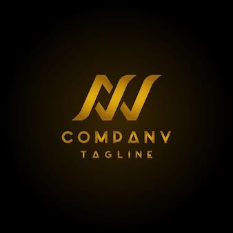 Letter aw luxe eerste logo-ontwerp met gouden kleur