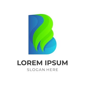 Letter b en blad logo ontwerp vector combinatie, 3d-kleurrijke stijl