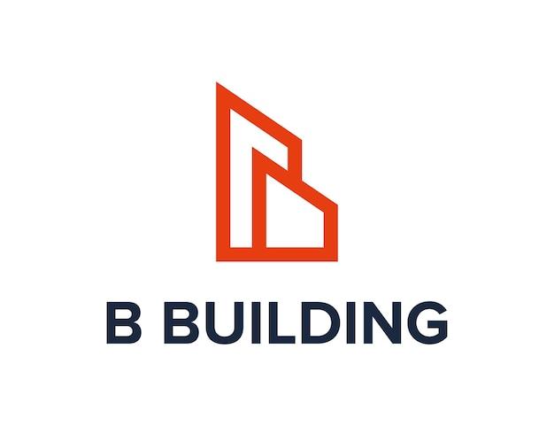 Letter b en bulding schets eenvoudig strak creatief geometrisch modern logo-ontwerp