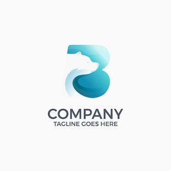 Letter b ijsbeer logo ontwerpsjabloon