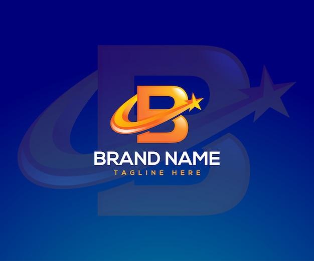 Letter b-logo met een sterrensymbool