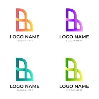 Letter b-logo-ontwerp met 3d-kleurrijke stijl