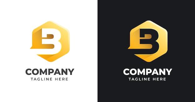 Letter b logo ontwerpsjabloon met geometrische vormstijl