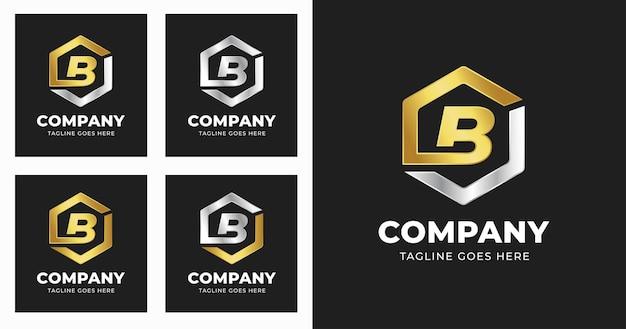 Letter b-logo ontwerpsjabloon met geometrische vormstijl