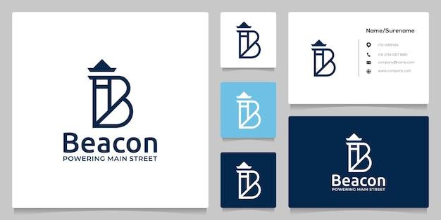 Letter b mercusuar vuurtoren strand lijn kunst logo ontwerp met visitekaartje