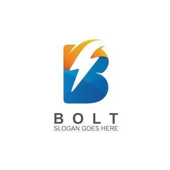Letter b met donderlogo-ontwerp