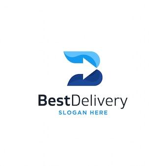 Letter b met pijl voor levering unieke moderne logo-ontwerpvector