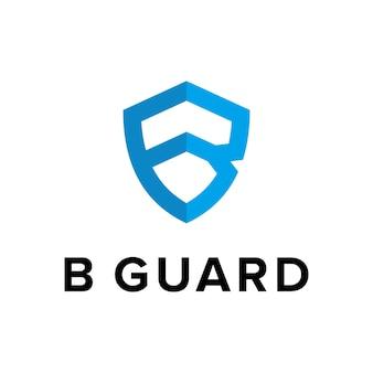 Letter b met schild eenvoudig creatief uniek modern strak geometrisch logo-ontwerp