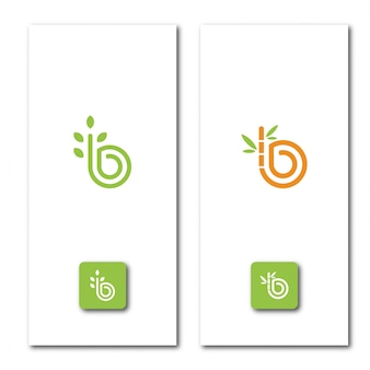 Letter b natuur logo sjabloon