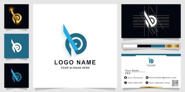 Letter b of bb monogram logo sjabloon met visitekaartje ontwerp