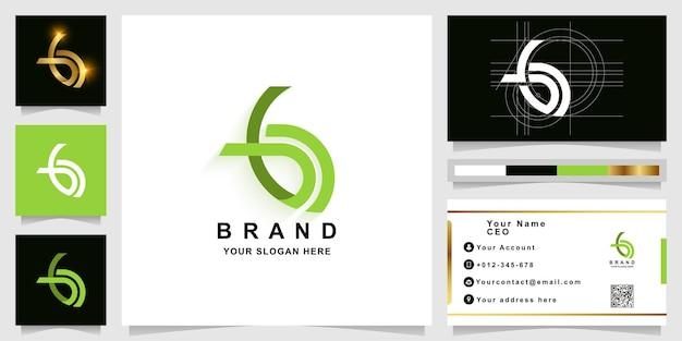Letter b of bd monogram logo sjabloon met visitekaartje ontwerp