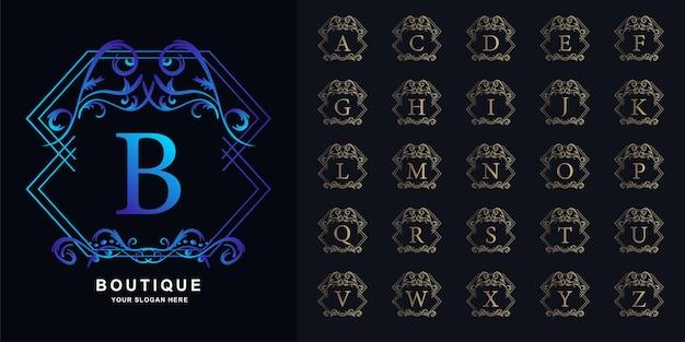 Letter b of collectie eerste alfabet met luxe sieraad bloemen frame gouden logo sjabloon.