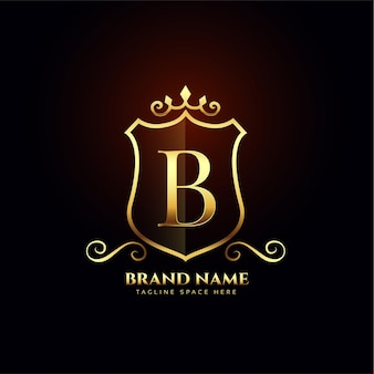 Letter b sier gouden logo conceptontwerp