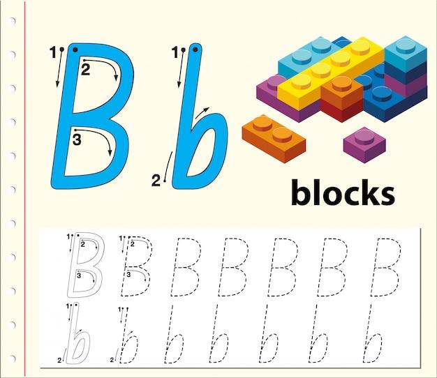 Letter b tracering alfabet werkbladen