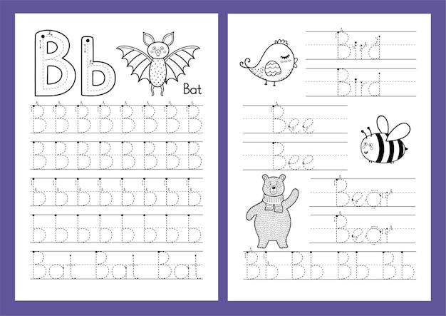 Letter b tracing oefenblad set