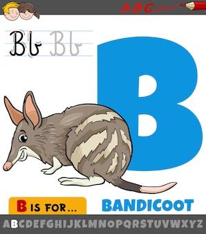 Letter b uit alfabet met cartoon bandicoot dier