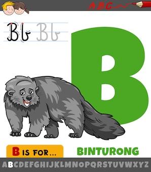 Letter b uit alfabet met cartoon binturong dierlijk karakter