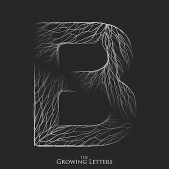 Letter b van tak of gebarsten alfabet. b-symbool bestaande uit groeiende witte lijnen.