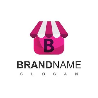 Letter b winkel logo ontwerpsjabloon, online shop symbool.