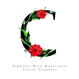 Letter c aquarel bloemen achtergrond