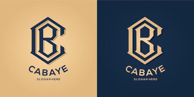Letter c en b logo decoratieve stijl