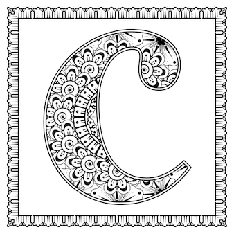 Letter c gemaakt van bloemen in mehndi stijl kleurboek pagina overzicht handdraw vectorillustratie