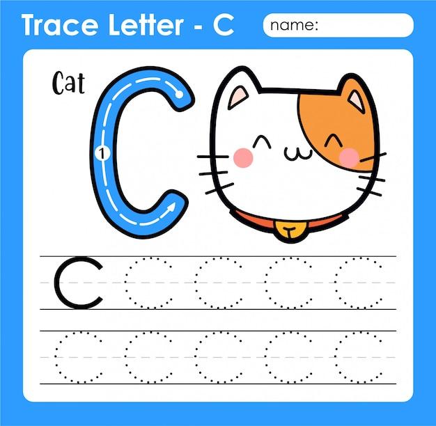 Letter c hoofdletters - alfabetletters overtrekken werkblad met cat