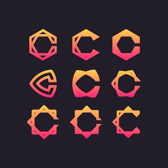 Letter c ingesteld logo