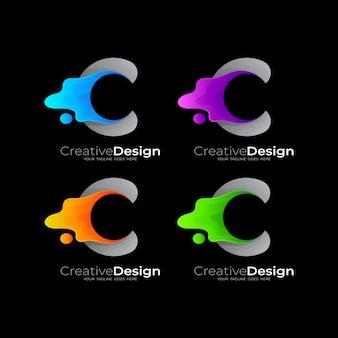 Letter c-logo met swoosh-ontwerpsjabloon instellen, kleurrijk