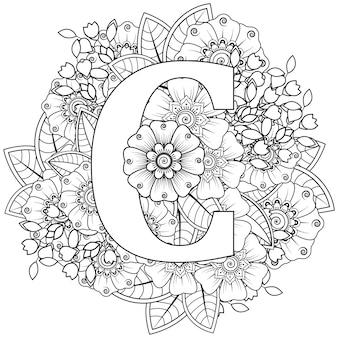 Letter c met mehndi bloem decoratief ornament in etnische oosterse stijl kleurboekpagina