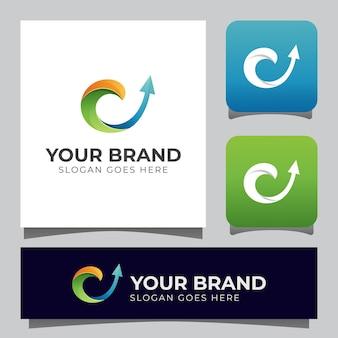 Letter c met pijl voor uw bedrijfslogo Premium Vector