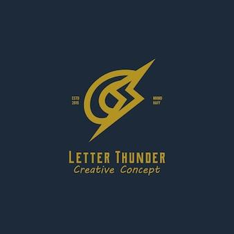 Letter c met thunder modern vintage logo