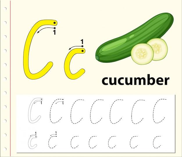 Letter c tracing alfabet werkbladen