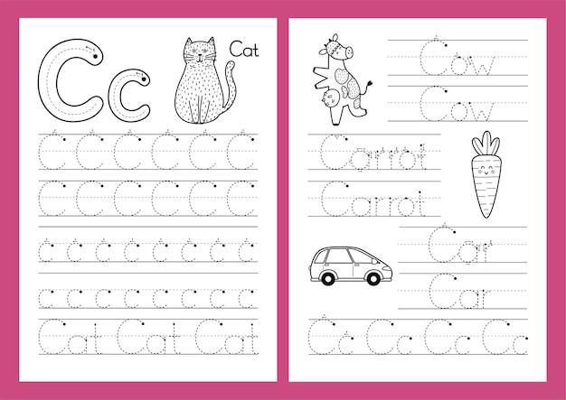 Letter c tracing oefenblad set