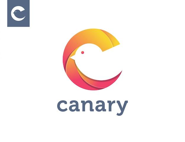 Letter c voor kanarie logo sjabloon