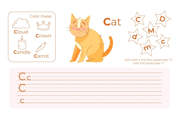 Letter c werkblad met kat