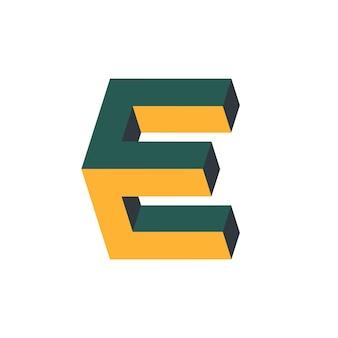 Letter cc e-logo met isometrische 3d-effect
