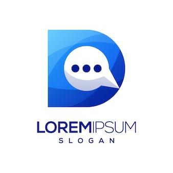 Letter d chat kleurrijke gradiënt logo