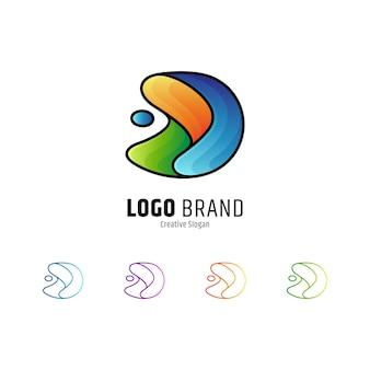 Letter d en water splash logo geïsoleerd op wit
