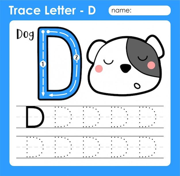 Letter d hoofdletters - alfabetletters overtrekken werkblad met hond