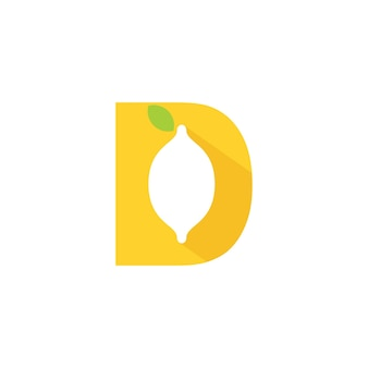 Letter d lime-logo met silhouet lime-symbool op d initial