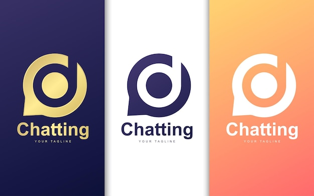 Letter d-logo in bubble-chat. eenvoudig chatten logo concept