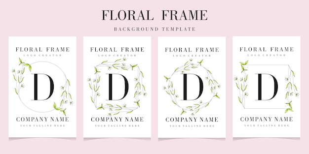Letter d logo met bloemen frame