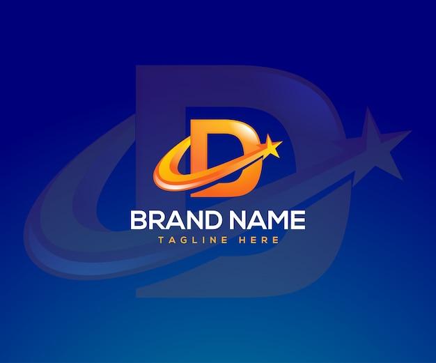 Letter d-logo met een sterrensymbool