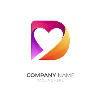 Letter d-logo met hartvorm